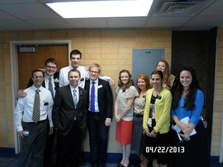 My MTC district. From left: Me, Elder Shepherd, Elder Cagle, Elder Hohneke, Brother Glancy [Teacher], Sister Benson, Sister Savage, Sister Wines, Sister Holden, Sister Pitt