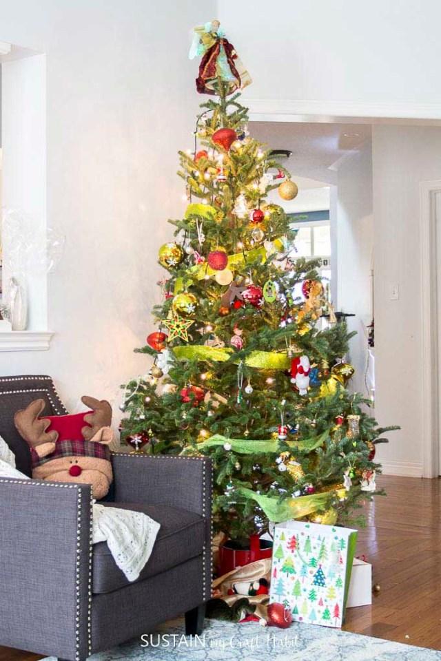 christmas tree ribbon decoration ideas 13