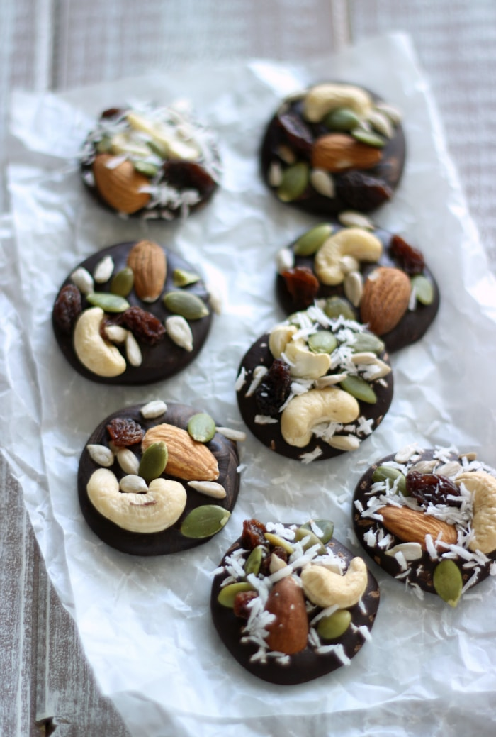 Trail Mix Chocolate Clusters