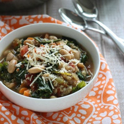 White Bean, Kale, + Quinoa Soup