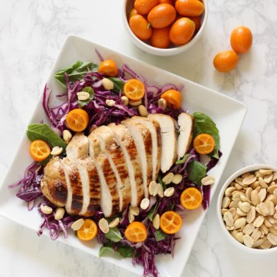 Chicken Cabbage Salad with Zesty Kumquat Vinaigrette