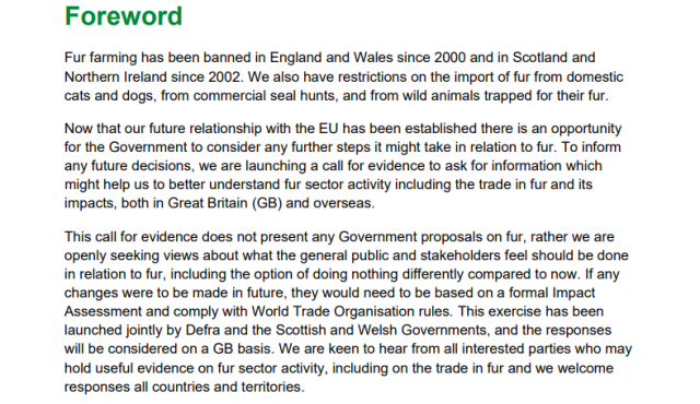 call for evidence against the fur industry