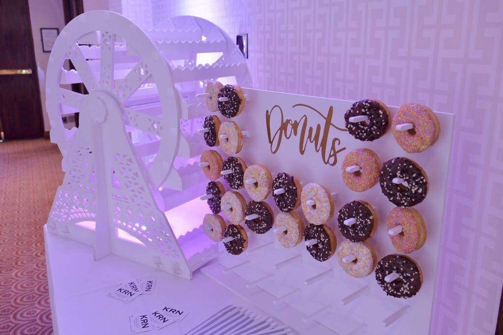 Donut wedding feature wall by KRN Events Liverpool