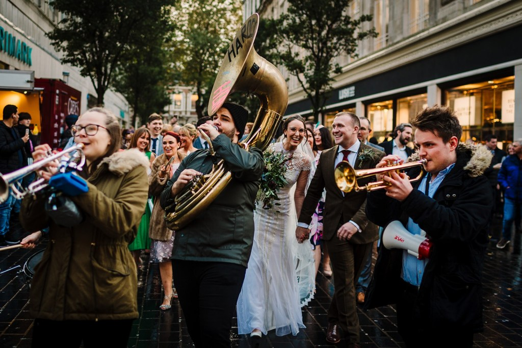BRass band wedding procession in Liverpool