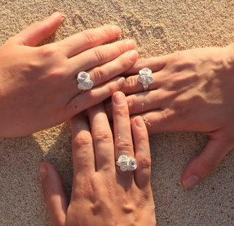 The rings we wear on our left hands symbolize one huge commitment in our lives...  we wear matching rings on our right hands to symbolize our huge commitment to each other.