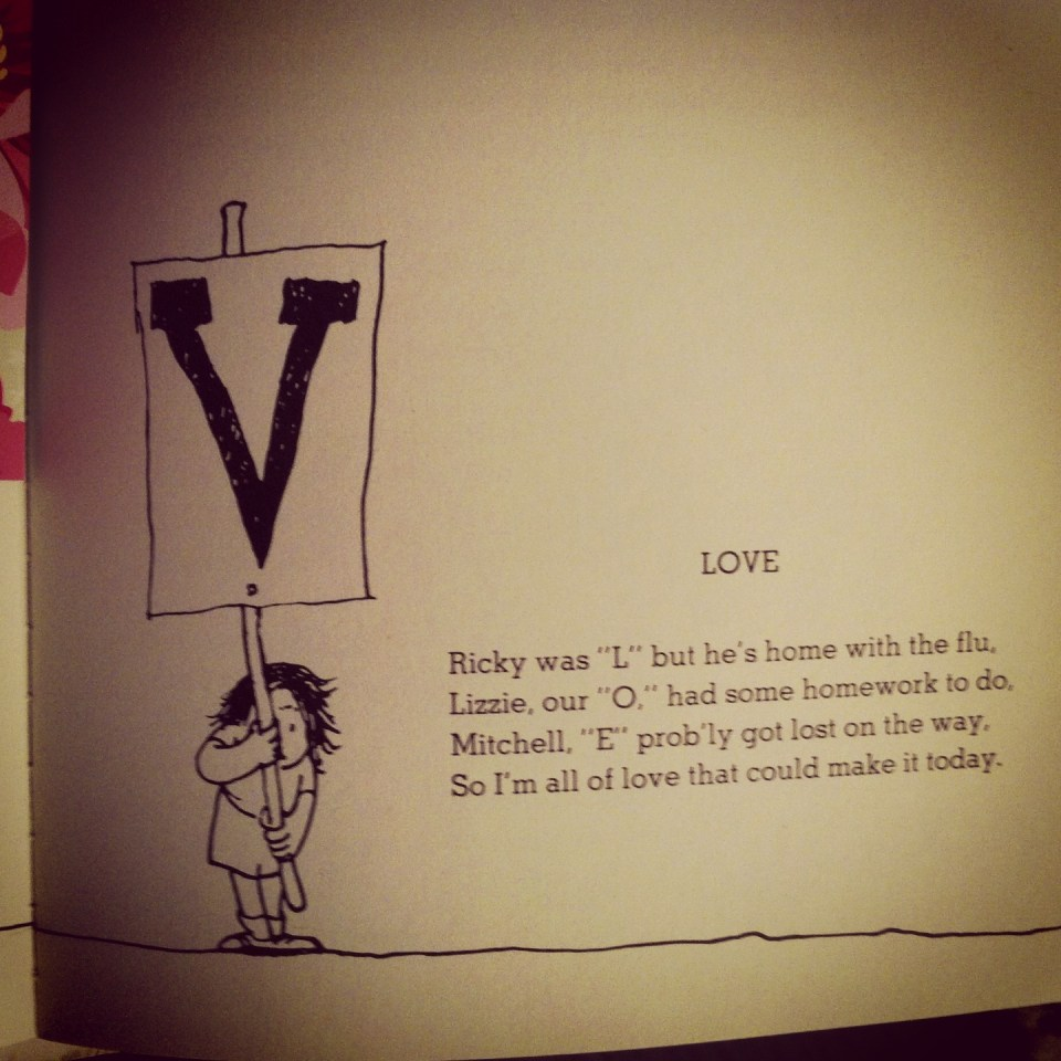 "Some nights for his pre-bed reading time, Max picks out a poem from the ""Where The Sidewalk Ends"" collection of poems by Shel Silverstein. He picked this one, one night (marking it for me with his pink peony Vanessa bookmark)."