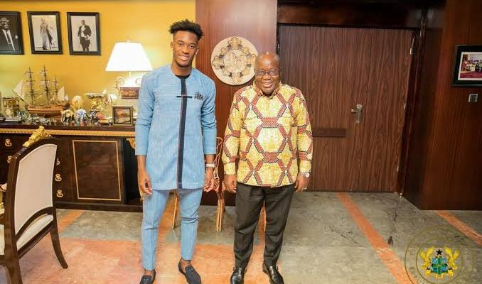 Check out Callum Hudson Odoi Mesmerizing with Ghana President as He is enjoying this Holiday.
