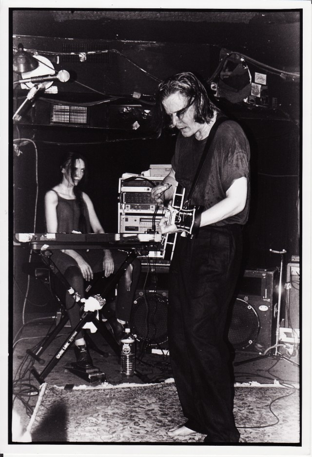 at keyboard on stage in Swans, 1995 tour
