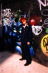 JG in front of The Bunker, 93 AVE B NYC 10009 Swans rehearsal space