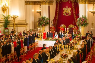 The palace banquetting hall and guestsinvited to a roayl banquet occasion