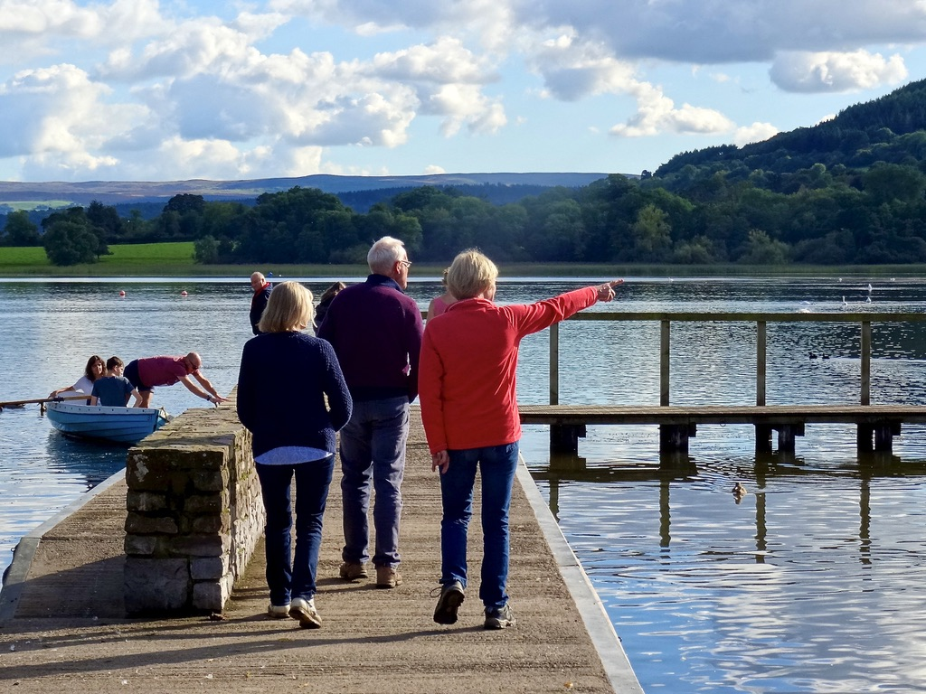 People by Llangorsty Lake, Powys