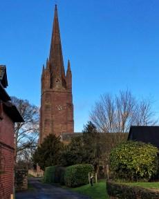 Striking church spire in winter sun