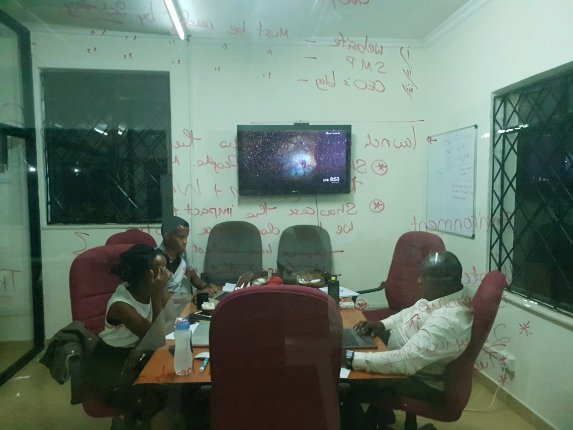 Thellesi Co. team strategizing for a client at our offices