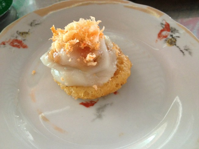 Banh beo- steamed rice cakes with shrimps and bacon rinds, Hue, Vietnam