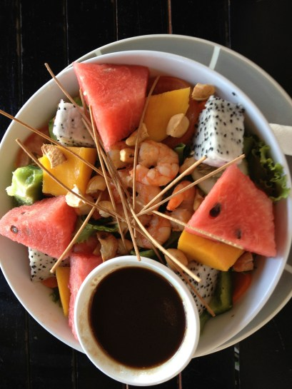 Salad with dragon fruit and shrimps at Joe's Cafe, Muine, Vietnam