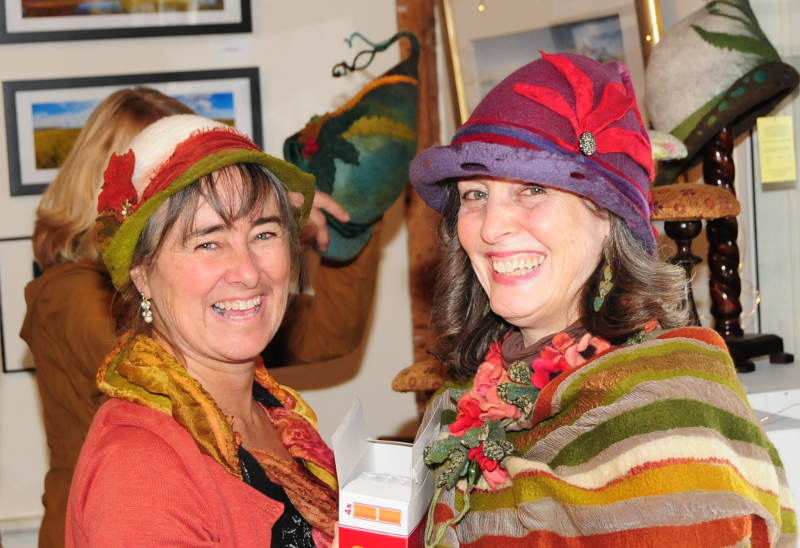 Hatfield hat-maker Heather Hall hangs in Hall-Haskell House