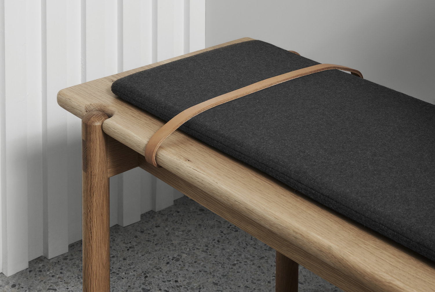 Brunswick designer and maker Nicholas McDonald of MBM - bench seat detailing and leather strap