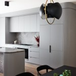 Soft Grey Curves Of The Kitchen Cabinetry