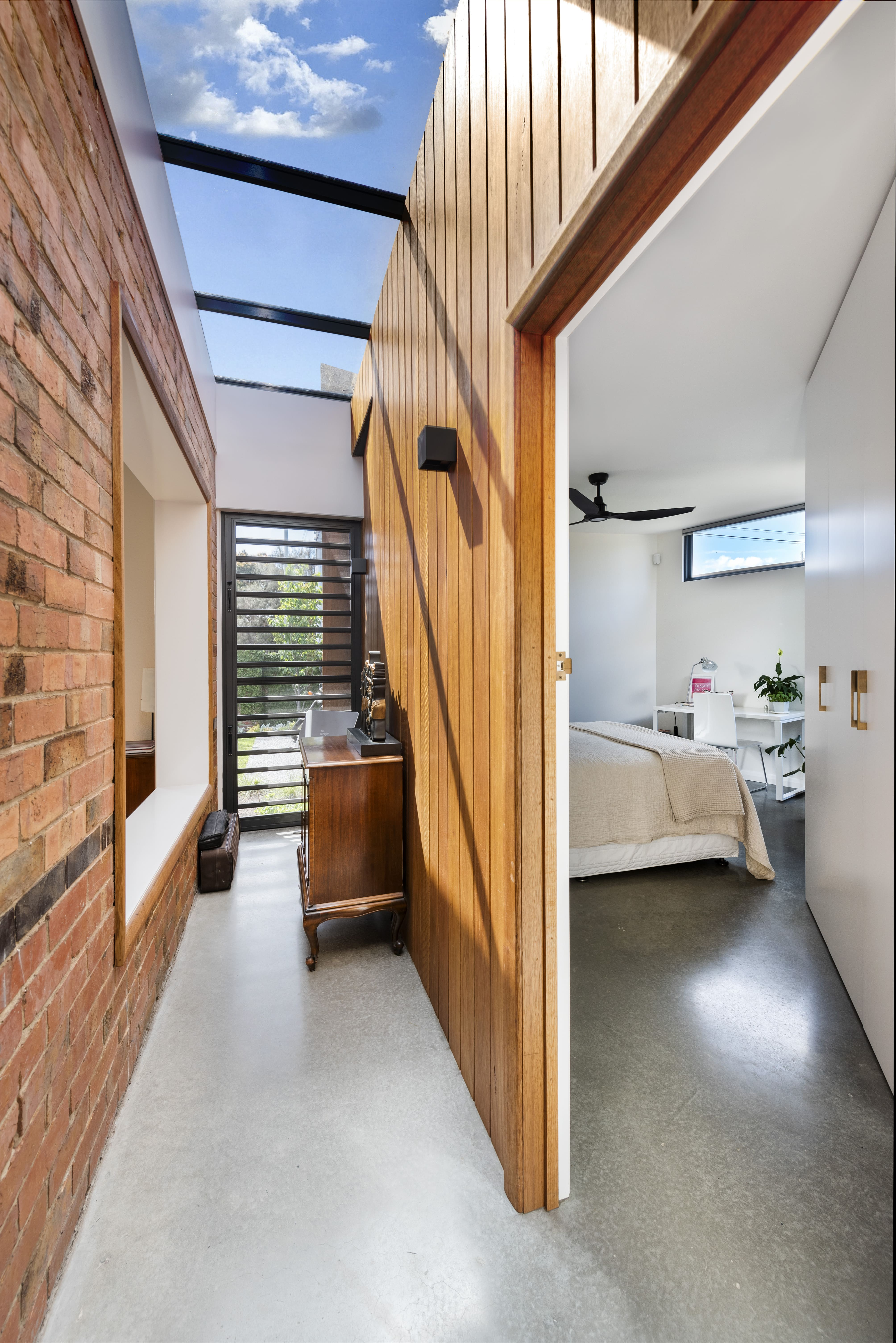 Bathroom And Laundry, We Were Left With An 'l' Shaped Form Of 2 Bedrooms, And Entry And 2 Living Spaces.