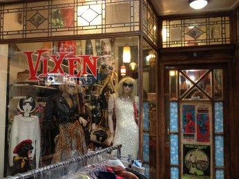 Retro and vintage clothing, corsets, watch repairs, jewellery in St Kevin's Arcade.