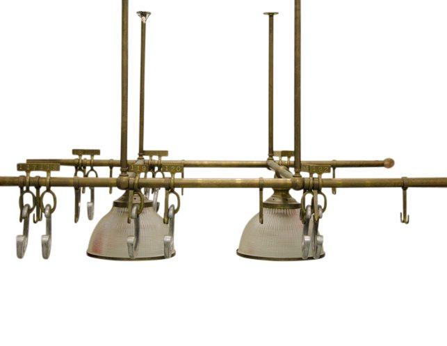 ann morris antique brass hanging pot rack with double light fixture