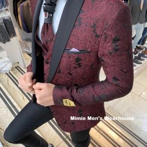 Black & Maroon Daniel Gallotti Groom Wedding Suit With Floral Print Finish