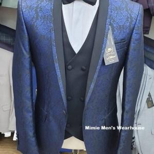 Blue 3 Piece Print Slim Fit Wedding Suit For Groom