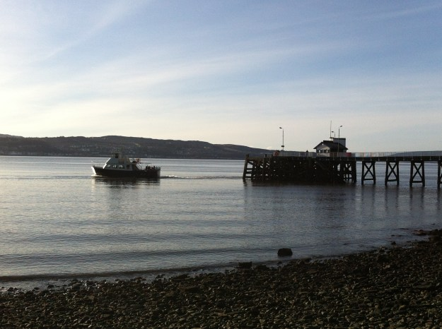 Calm waters: The Island Princess leaving Kilcreggan pier on Saturday, when there was lull in the winter storms.