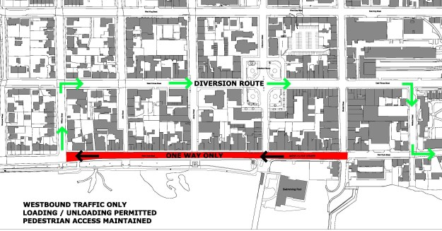 A one way system will be used, diverting traffic via West Princes Street