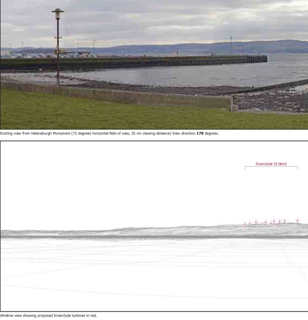 An impression of the Inverclyde Wind Farm from Helensburgh seafront
