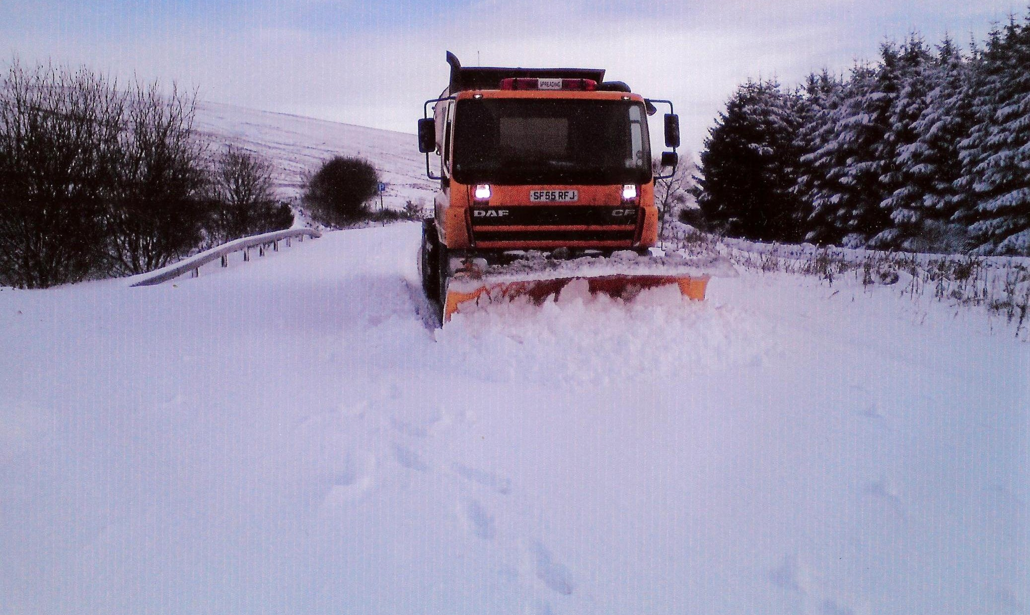 A Council plough working in Kintyre in March 2013