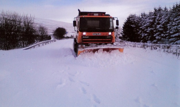 A council snowplough clearing roads in Kintyre in March 2013.