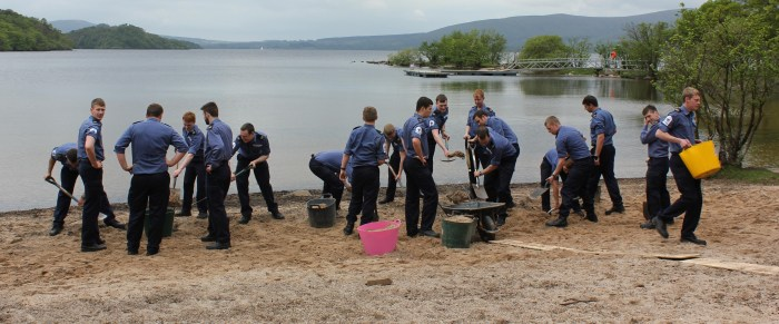 Young sailors help create a new beach at Inchcailloch