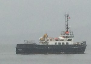 Here today: MV Oronsay made a brief appearance at Kilcreggan today.