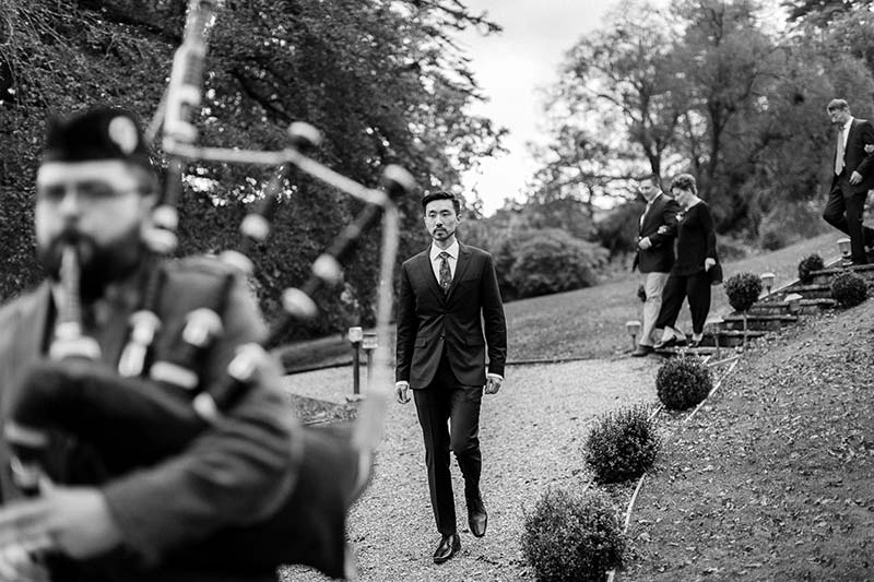 The groom being piped in