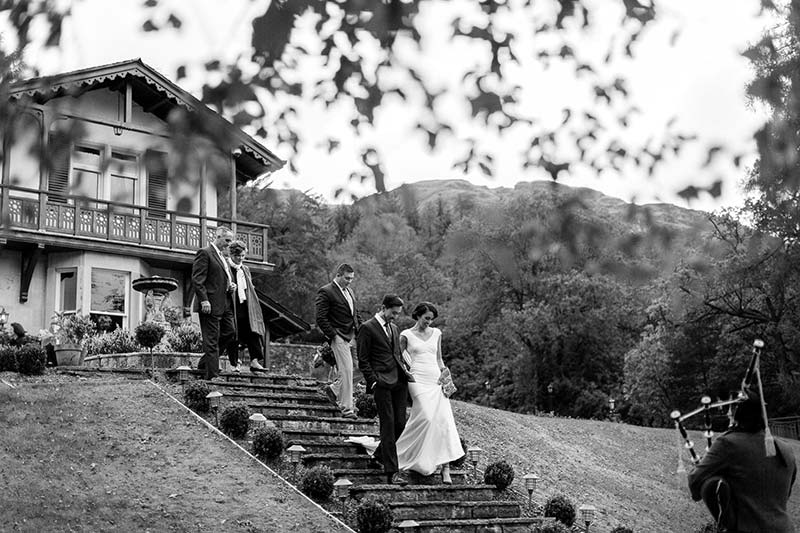 A small wedding party on The Lodge steps