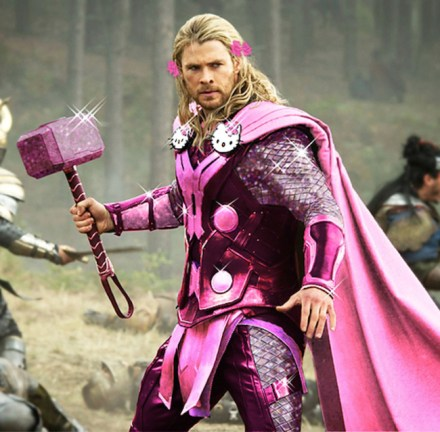 Thor in pink and purple armour, with hair bows