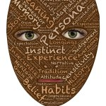 A face mask with words describing our identity