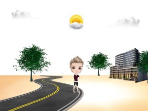 cartoon person standing beside a road