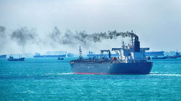 Ship releasing large amounts of emissions