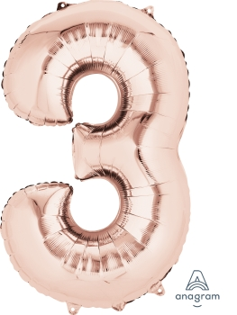 rose gold number 3 balloon helium filled