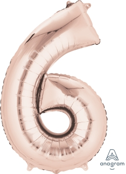 rose gold number 6 balloon helium filled