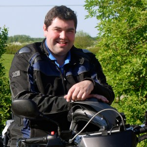 Matthew Cashmore on his motorbike