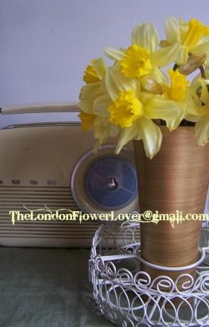 Daffodils and vintage radio