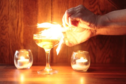 Flaming a King's ginger Martini