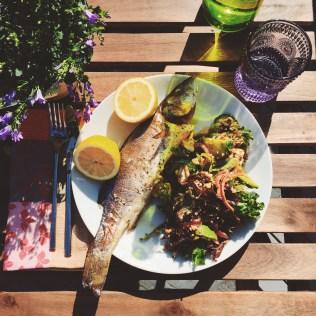 Sea Bass and Greek Salad