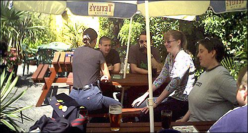 The garden of the Rutland Arms, July 2002