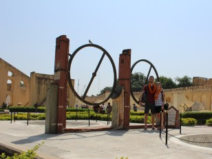 At Jantar Mantar, some sort of astrological device in the background