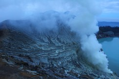 View at the top of a volcano at the Ijen Plateau