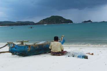 Local fisherman preparing his nets